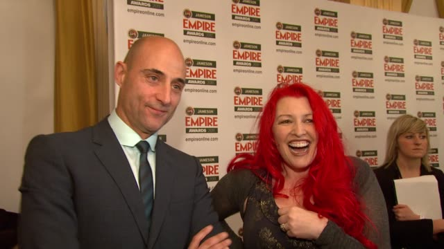 jane goldman and mark strong on winning, on what made kickass so special, on a sequel at the jameson empire awards at london england. - ジェーン ゴールドマン点の映像素材/bロール
