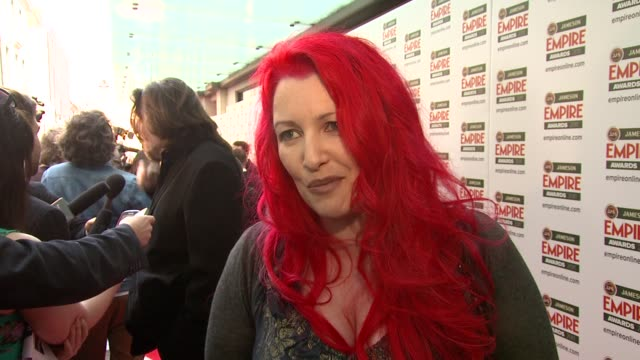 jane goldman on being nominated, the empire awards and more at the jameson empire awards at london england. - ジェーン ゴールドマン点の映像素材/bロール