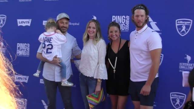jane kimmel jimmy kimmel molly mcnearney ellen kershaw and clayton kershaw at the 5th annual ping pong 4 purpose arrivals on july 27 2017 in los... - jimmy kimmel stock videos and b-roll footage