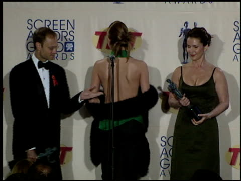 jane leeves at the 2000 screen actors guild sag awards press room at the shrine auditorium in los angeles california on march 12 2000 - 全米映画俳優組合賞点の映像素材/bロール