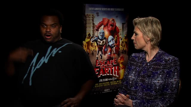 interview jane lynch and craig robinson explain why viewers should see their movie at escape from planet earth new york press junket on february 11... - jane lynch stock videos and b-roll footage