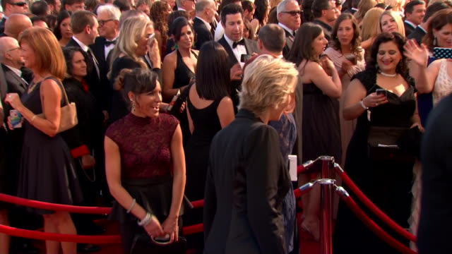 jane lynch arrives at the 2013 emmy awards. - emmy awards stock videos & royalty-free footage