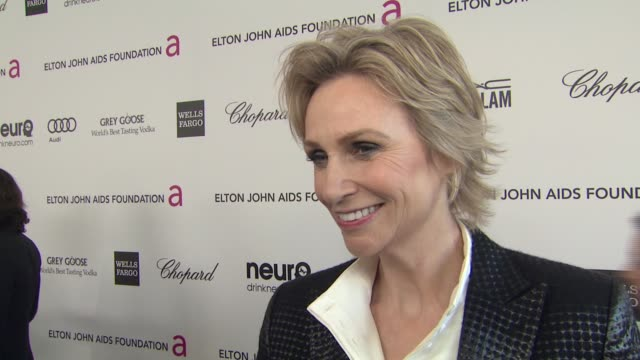 INTERVIEW Jane Lynch at Elton John AIDS Foundation Presents 21st Annual Academy Awards Viewing Party Sponsored By Chopard Neuro Drinks And Wells...