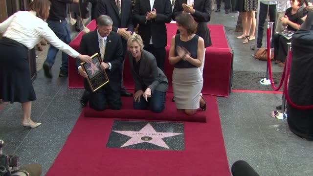 jane lynch christopher guest and ryan murphy at jane lynch honored with star on the hollywood walk of fame jane lynch christopher guest and ryan... - jane lynch stock videos and b-roll footage