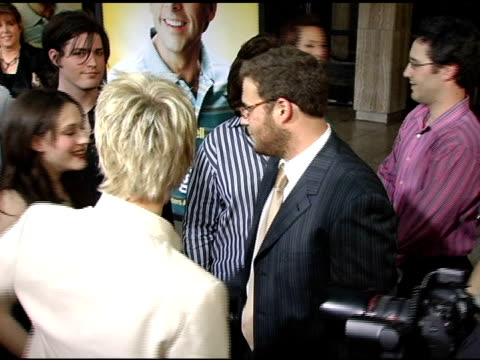 jane lynch kat dennings and seth rogen at the 'the 40yearold virgin' premiere at arclight cinemas in hollywood california on august 11 2005 - seth rogen stock videos and b-roll footage