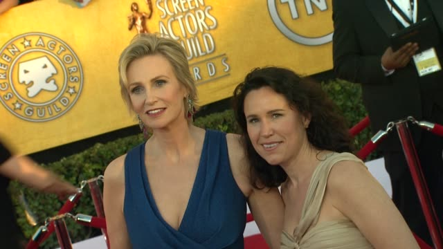 jane lynch lara embry at 18th annual screen actors guild awards arrivals on 1/29/12 in los angeles ca - jane lynch stock videos and b-roll footage