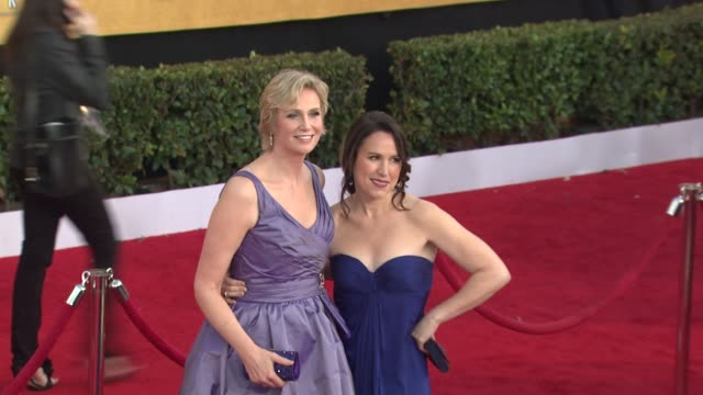 jane lynch lara embry at the 17th annual screen actors guild awards arrivals part 2 at los angeles ca - jane lynch stock videos and b-roll footage