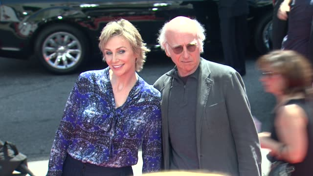 jane lynch larry david at the three stooges los angeles premiere on 4/7/12 in hollywood ca - jane lynch stock videos and b-roll footage