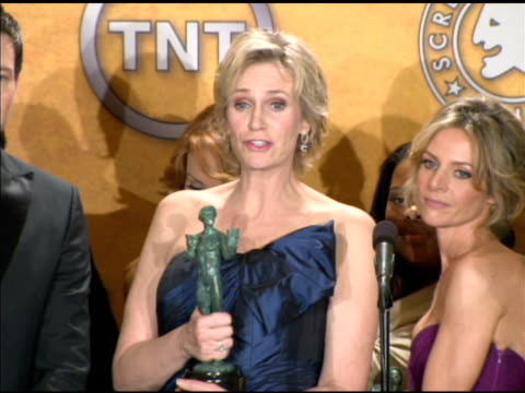 jane lynch on an upcoming singing role on 'glee' and how she is approaching it at the 16th annual screen actors guild awards press room at los... - jane lynch stock videos and b-roll footage