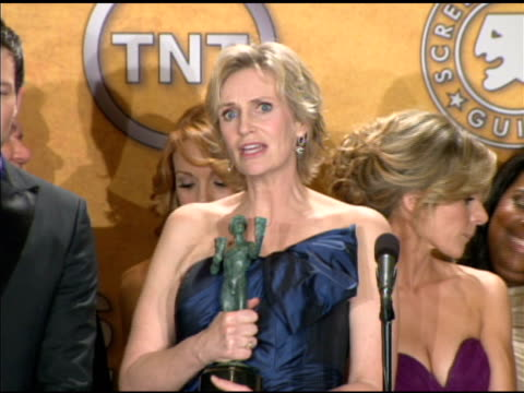 jane lynch on being a part of such a talented cast at the 16th annual screen actors guild awards press room at los angeles ca - jane lynch stock videos and b-roll footage