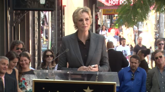 speech jane lynch on memories of her career and how thankful she is to receive a star on the walk of fame at jane lynch honored with star on the... - jane lynch stock videos and b-roll footage