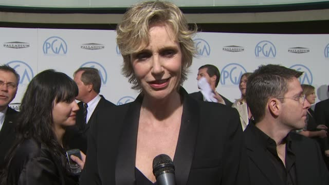 jane lynch on the recognition that 'glee' has been receiving presenting at tonight's event at the 2010 producers guild awards at hollywood ca - glee tv show stock videos and b-roll footage