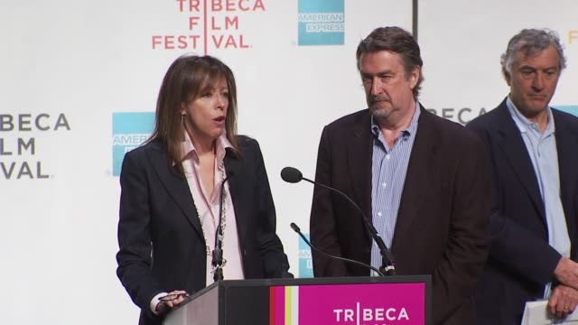 jane rosenthal and geoffrey gilmore talk about the new era of the film business. at the tribeca film festival opening press conference at new york ny. - tribeca festival stock videos & royalty-free footage