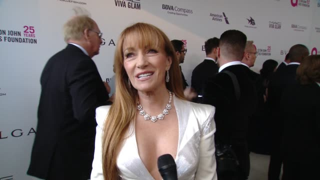 INTERVIEW Jane Seymour at the Elton John AIDS Foundation Presents the 26th Annual Academy Awards Viewing Party on March 04 2018 in West Hollywood...