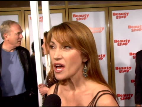 jane seymour on why she came to the premiere and on upcoming projects, including smallville and the wedding crashers at the 'beauty shop' world... - westwood neighborhood los angeles stock videos & royalty-free footage