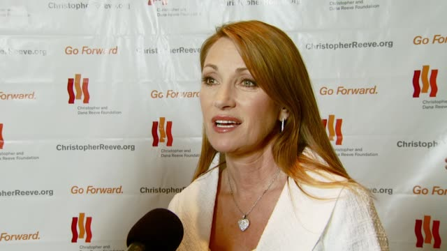 jane seymour with husband james keach on coming out to the gala supporting christopher reeve and the cause continuing the foundation on robin... - christopher and dana reeve foundation stock videos and b-roll footage