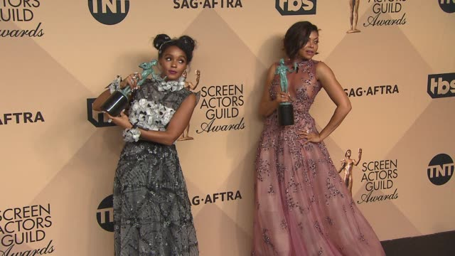 janelle monae and taraji p henson at 23rd annual screen actors guild awards press room photo room at the shrine expo hall on january 29 2017 in los... - taraji p. henson stock videos and b-roll footage