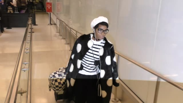 Janelle Monae greets fans while departing at LAX Airport in Los Angeles in Celebrity Sightings in Los Angeles