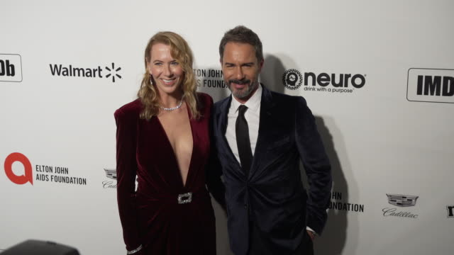 janet holden and eric mccormack at the 28th annual elton john aids foundation academy awards viewing party sponsored by imdb walmart and neuro drinks... - janet holden stock videos & royalty-free footage