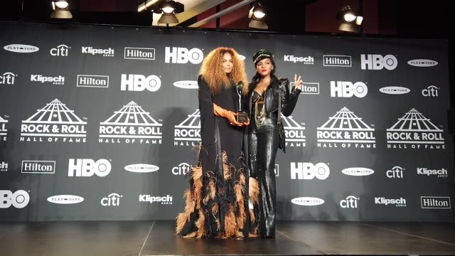 janet jackson janelle monae at the 2019 rock roll hall of fame induction ceremony press room at barclays center on march 29 2019 in new york city - hall of fame stock videos and b-roll footage
