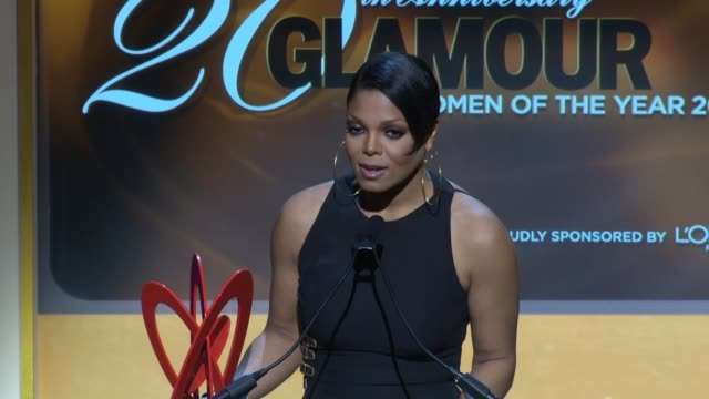 janet jackson on coming out to honor her friend donatella versace at the glamour magazine honors the 2010 women of the year inside show at new york ny - janet jackson stock videos & royalty-free footage