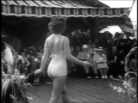 1939 montage janet mantell wins seaside beauty competition for title of miss california / venice, california - beauty contest stock videos & royalty-free footage