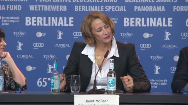 vídeos de stock, filmes e b-roll de interview janet mcteer on what interested her in the role at 'angelica' press conference 65th berlin film festival at grand hyatt hotel on february... - janet mcteer