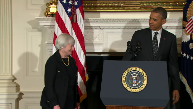 janet yellen thanks obama and shakes his hand 15:27:12 mr. president, thank you for giving me this opportunity to continue serving the federal... - business or economy or employment and labor or financial market or finance or agriculture stock videos & royalty-free footage