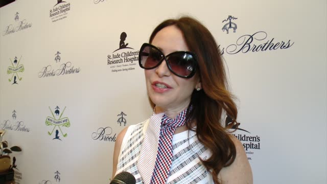 interview janie bryant on why she wanted to support brooks brothers st judes at brooks brothers hosts mini classic golf tournament to benefit st jude... - st. jude children's research hospital stock videos and b-roll footage