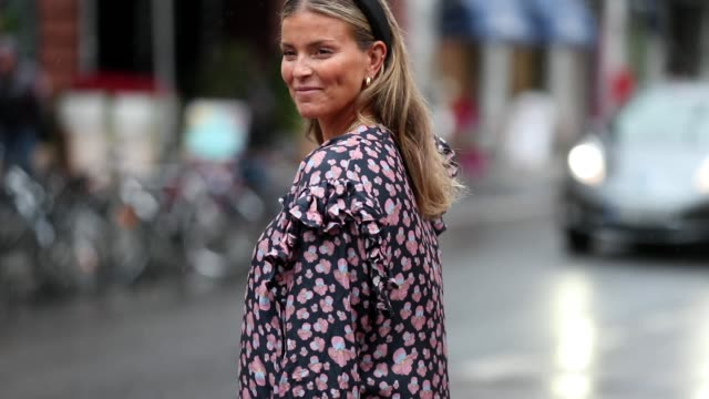 janka polliani is seen wearing a chanel bag and a dress with floral print during oslo fashion on august 28 2019 in oslo norway - floral pattern stock videos & royalty-free footage