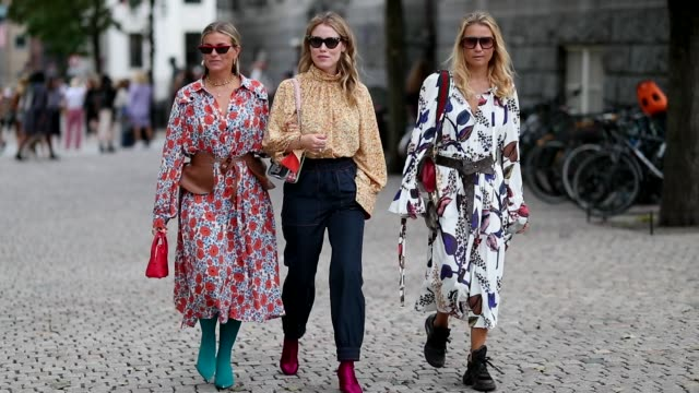 Janka Polliani wearing a dress Annabel Rosendahl wearing blouse denim jeans and Line Langmo wearing dress with floral print during Oslo Runway SS19...