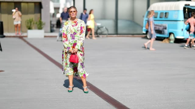 janka polliani wearing dress with floral print seen outside munthe during the copenhagen fashion week spring/summer 2019 on august 9 2018 in... - floral pattern stock videos & royalty-free footage
