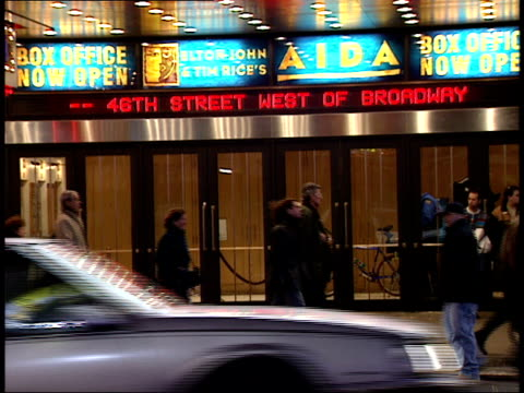january 15 2000 ms palace theater showing signs for aida in times square / new york new york united states - 2000 2010 stil bildbanksvideor och videomaterial från bakom kulisserna