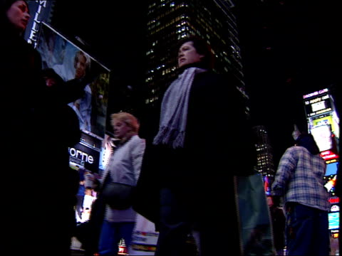 January 15 2000 LA Pedestrians walking in Times Square / New York New York United States