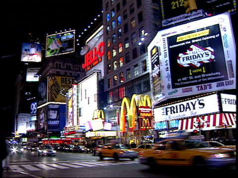 January 15 2000 PAN Various buildings billboards and pedestrians walking in Times Square / New York New York United States