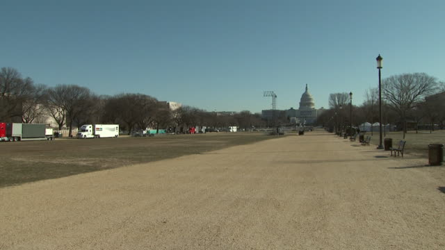 January 16 2009 PAN Workers unload portable toilets on the National Mall / Washington DC United States