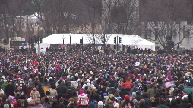 january 18 2009 ha ws excited crowd on the national mall at the during the 'we are one' concert in celebration of the inauguration of barack obama/... - 2009 video stock e b–roll
