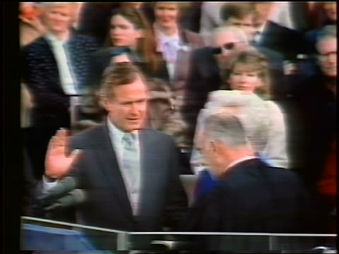 january 20, 1981 george bush taking oath of office as vice president / barbara watching - oath stock videos & royalty-free footage