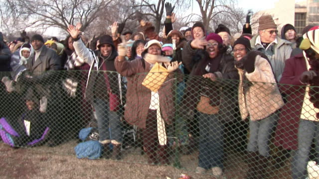 january 20 2009 ws montage cheering spectators at the inauguration of barack obama / washington dc / audio - 2009 video stock e b–roll
