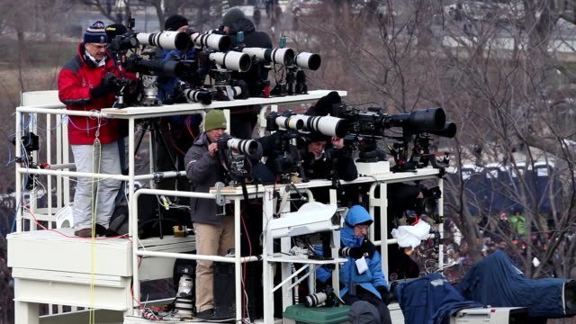 january 20, 2009 photographers setting up on platform at the inauguration of president barack obama/ washington dc/ audio - 2009 stock videos & royalty-free footage