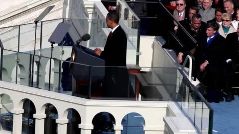 vidéos et rushes de january 20, 2009 president barack obama giving his inaugural address/ washington dc/ audio - 2009