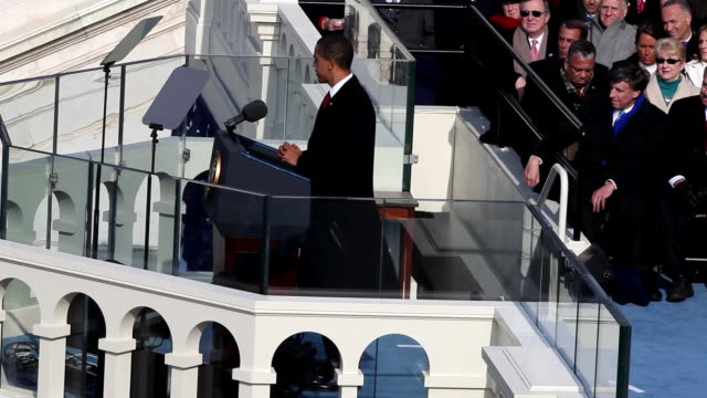 january 20 2009 ha ms president barack obama giving his inaugural address/ washington dc/ audio - 2009 video stock e b–roll