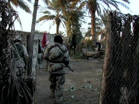january 21 2005 ws ts us army and iraqi national guard searching small village for weapons baghdad iraq audio - 2005 stock videos & royalty-free footage