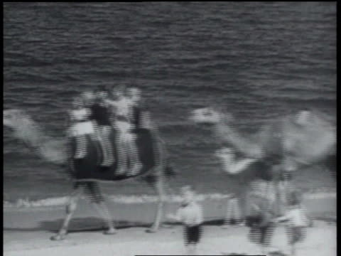 vídeos y material grabado en eventos de stock de january 24, 1934 b/w tourists riding camels at the beach - 1934
