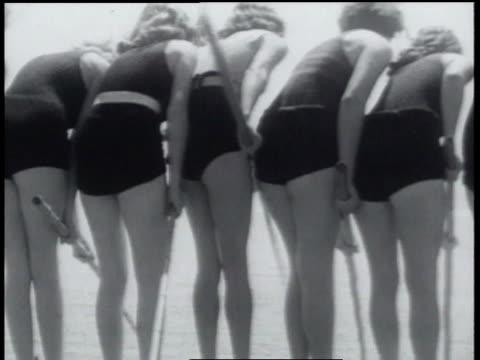 january 24, 1934 b/w women fishing while wearing swim attire - 1934 stock videos & royalty-free footage