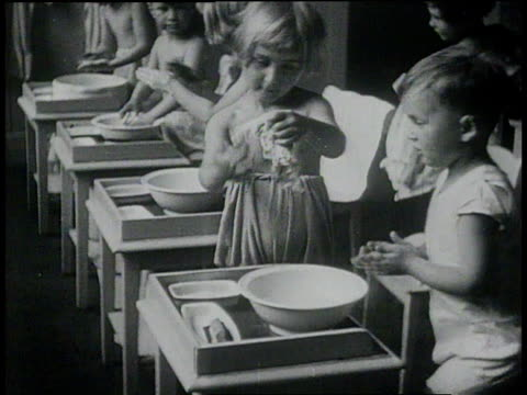 January 26, 1931 MONTAGE children washing themselves and each other in class / Berlin, Germany