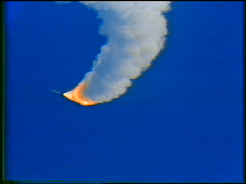january 28 1986 zoom in booster rocket still flying after explosion of space shuttle challenger - 1986 stock videos & royalty-free footage