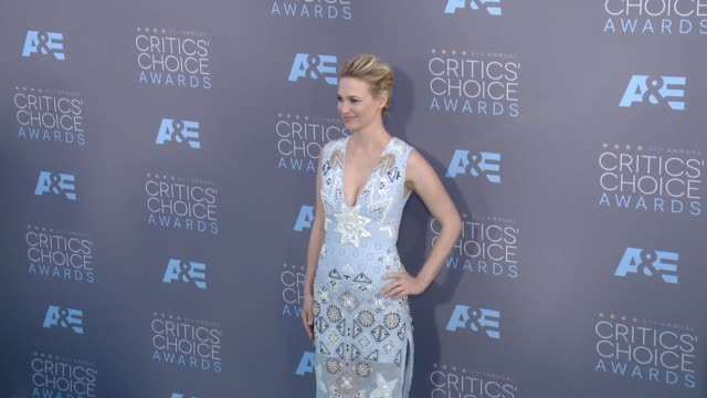 january jones at 21st annual critics' choice awards in los angeles ca - january jones stock videos & royalty-free footage