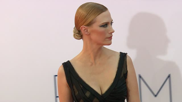 january jones at 64th primetime emmy awards arrivals on 9/23/12 in los angeles ca - january jones stock videos & royalty-free footage