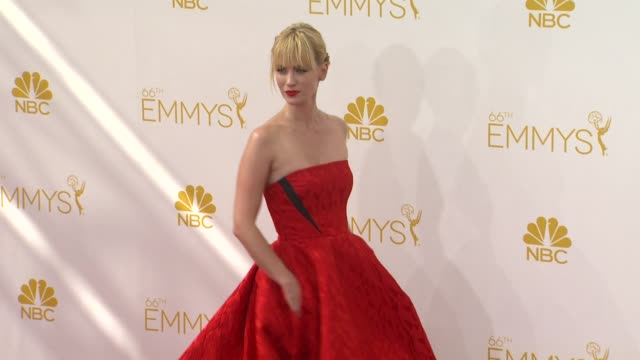 january jones at 66th primetime emmy awards arrivals in los angeles ca - january jones stock videos & royalty-free footage